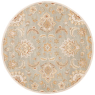 8' x Area Rug Round Blue Tan Mythos Abers MY13 Handmade Hand-Tufted Traditional Vintage