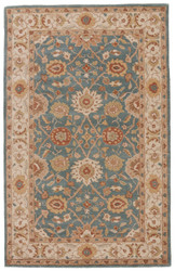 2' x 3' Area Rug Rectangle Blue Tan Poeme Zuzanna PM109 Handmade Hand-Tufted Traditional