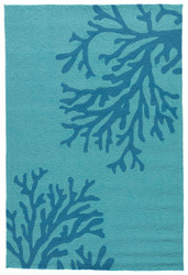"5' x 7'6"" Area Rug Rectangle Teal Blue Grant I-O Bough Out GD50 Handmade Hand-Tufted"