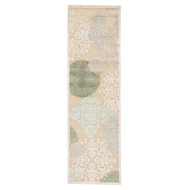 """2'6"""" x 8' Area Rug Runner Beige Green Fables Wistful FB19 Machine Made Power-Loomed"""