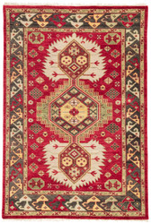 "5'6"" x 8' Area Rug Rectangle Red Olive Village By Artemis Karter VBA01 Handmade"