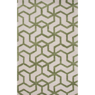 """3'6"""" x 5'6"""" Area Rug Rectangle White Green Blue Addy BL135 Handmade Hand-Tufted Modern"""