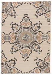 "7'11"" x 10' Area Rug Rectangle Cream Gray Bloom Mobile BLO20 Machine Made Power-Loomed"