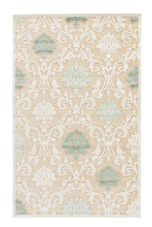 9' x 12' Area Rug Rectangle Beige Green Fables Glamourous FB88 Machine Made Power-Loomed