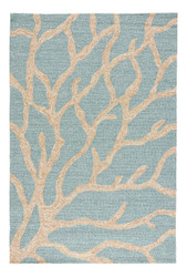 9' x 12' Area Rug Rectangle Teal Tan Coastal Lagoon Coral COL13 Handmade Hand-Tufted