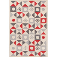 2' x 3' Area Rug Rectangle Cream Red Playful By Petit Collage Stardust PBP01 Handmade