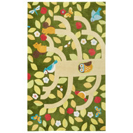 "7'6"" x 9'6"" Area Rug Rectangle Green Yellow Iconic By Petit Collage Treetop IBP11"