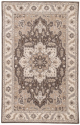 2' x 3' Area Rug Rectangle Gray Beige Poeme Orleans PM142 Handmade Hand-Tufted