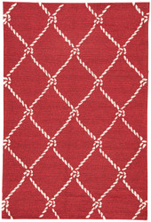 "5' x 7'6"" Area Rug Rectangle Red White Coastal Lagoon Fish Net COL53 Handmade"