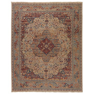 8' x 10' Area Rug Rectangle Beige Red Revolution Celestial REL05 Handmade Hand-Knotted