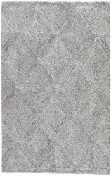 5' x 8' Area Rug Rectangle White Dark Gray Traditions Made Modern Tufted Exhibition