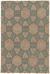 "7'6"" x 9'6"" Area Rug Rectangle Brown Aqua Catalina Petrea CAT44 Handmade Hand-Hooked"