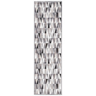 """2'6"""" x 8' Area Rug Runner Gray White Fables Tria FB92 Machine Made Power-Loomed"""