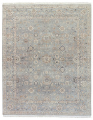 9' x 12' Area Rug Rectangle Gray Tan Biscayne Riverton BS18 Handmade Hand-Knotted