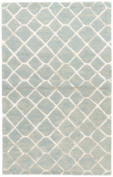 8' x 10' Area Rug Rectangle Blue Cream Totten BL157 Handmade Hand-Tufted Contemporary