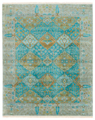 9' x 12' Area Rug Rectangle Teal Green Opus Allegro OP30 Handmade Hand-Knotted