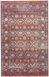 5' x 8' Area Rug Rectangle Mauve Blue Tabriz Jewel TBZ02 Machine Made Power-Loomed