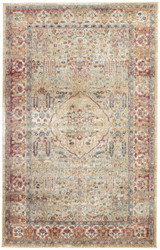 5' x 8' Area Rug Rectangle Taupe Mauve Tabriz Emilion TBZ03 Machine Made Power-Loomed