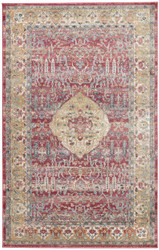 9' x 12' Area Rug Rectangle Red Gold Tabriz Emilion TBZ05 Machine Made Power-Loomed