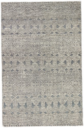 2' x 3' Area Rug Rectangle Gray White Reign Abelle REI01 Handmade Hand-Knotted