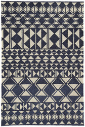 "7'6"" x 9'6"" Area Rug Rectangle Navy Cream Catalina Botella CAT56 Handmade Hand-Hooked"