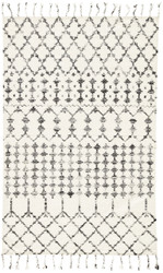 5' x 8' Area Rug Rectangle Ivory Black Adair Riot ADA02 Handmade Hand-Woven Moroccan