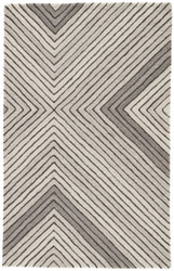 2' x 3' Area Rug Rectangle Gray Cream Asos Tremont AOS02 Handmade Hand-Tufted Modern