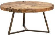 "32"" Camillo Coffee Table Reclaimed Teak Root Round Natural Antique Brass Base"