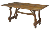 """63"""" Dorotea Dining Table Solid Walnut Old Reclaimed Wood Rustic"""
