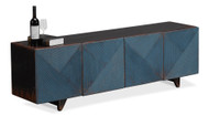 "71"" Olinto Under A Tv Cabinet Reclaimed Solid Pine Wood Dark Blue Wash Brown Top"