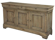 "70"" Long Alessia Sideboard Cabinet Au Lait Buffet  Driftwood Finish Solid Walnut"