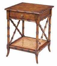 "24"" H Erminia Set of Two East Lamp Table Solid Walnut Rattan Caning Drawer Old W"