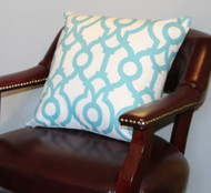 Aqua Trelllis Pillow Cover 18""