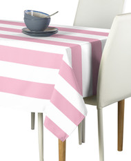 Pale Pink & White Cabana Stripe Signature Tablecloth