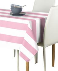 Pale Pink & White Cabana Stripe Signature Tablecloth