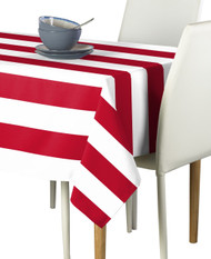 Red & White Cabana Stripe Signature Tablecloth