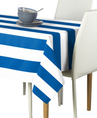 Royal & White Cabana Stripe Signature Tablecloth