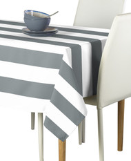 Gray & White Cabana Stripe Signature Tablecloth