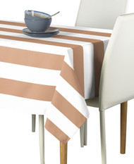 Tan & White Cabana Stripe Signature Tablecloth