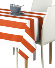Orange & White Cabana Stripe Signature Tablecloth