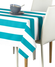 Turquoise & White Cabana Stripe Signature Tablecloth