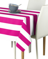 Fuchsia & White Cabana Stripe Signature Tablecloth