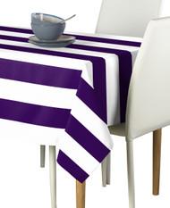 Purple & White Cabana Stripe Signature Tablecloth