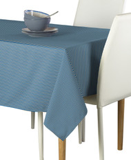 Royal Blue & Tan Pinstripe Signature Rectangle Tablecloths