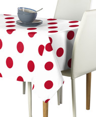 "3"" Red Dots on White Signature Rectangle Tablecloths"