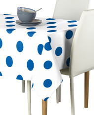 "3"" Royal Blue Dots on White Signature Rectangle Tablecloths"