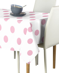 "3"" Pale Pink Dots on White Signature Rectangle Tablecloths"