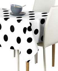 "3"" Black Dots on White Signature Rectangle Tablecloths"