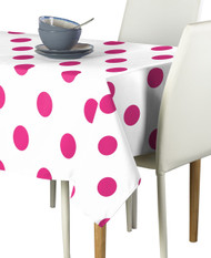 "3"" Hot Pink Dots on White Signature Rectangle Tablecloths"