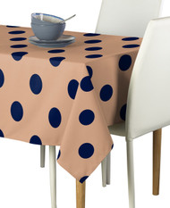 "3"" Navy Dots on Tan Signature Rectangle Tablecloths"